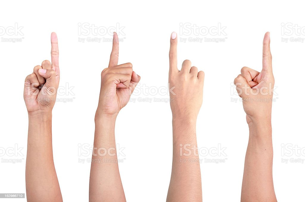 man's finger pointing from four different angle stock photo