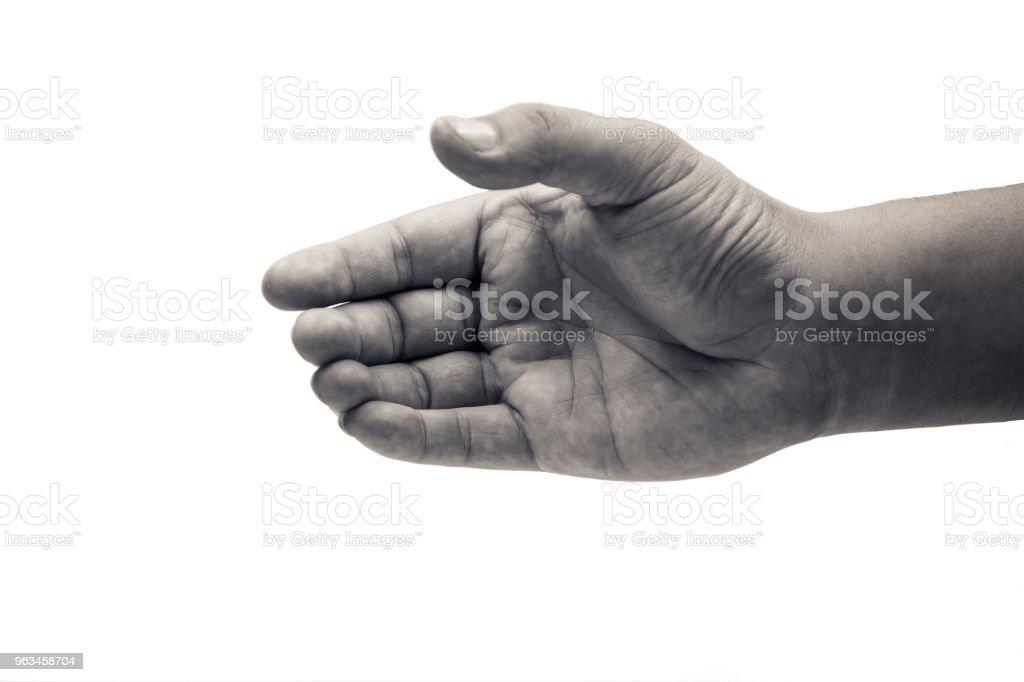 Mano del hombre nada coger sobre fondo blanco con trazado de recorte - Foto de stock de Adulto libre de derechos