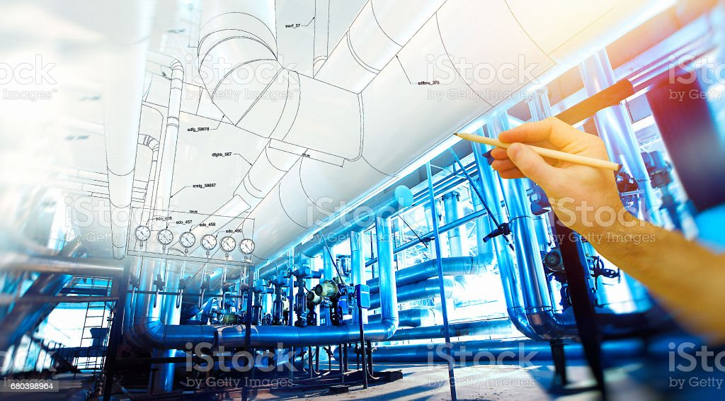 man's hand draws a design of factory - foto de stock