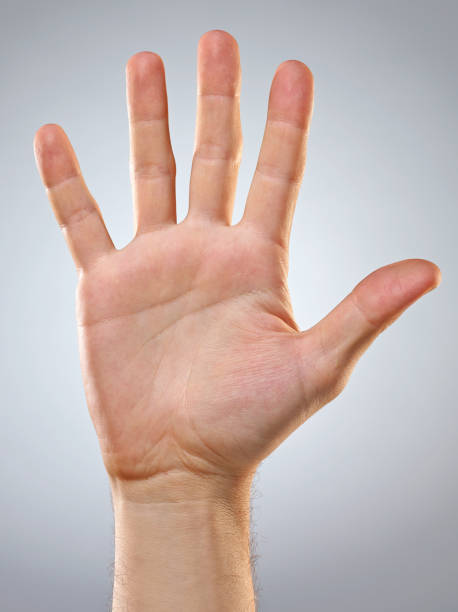 man's hand. five fingers. open hand. - wave icon stock photos and pictures