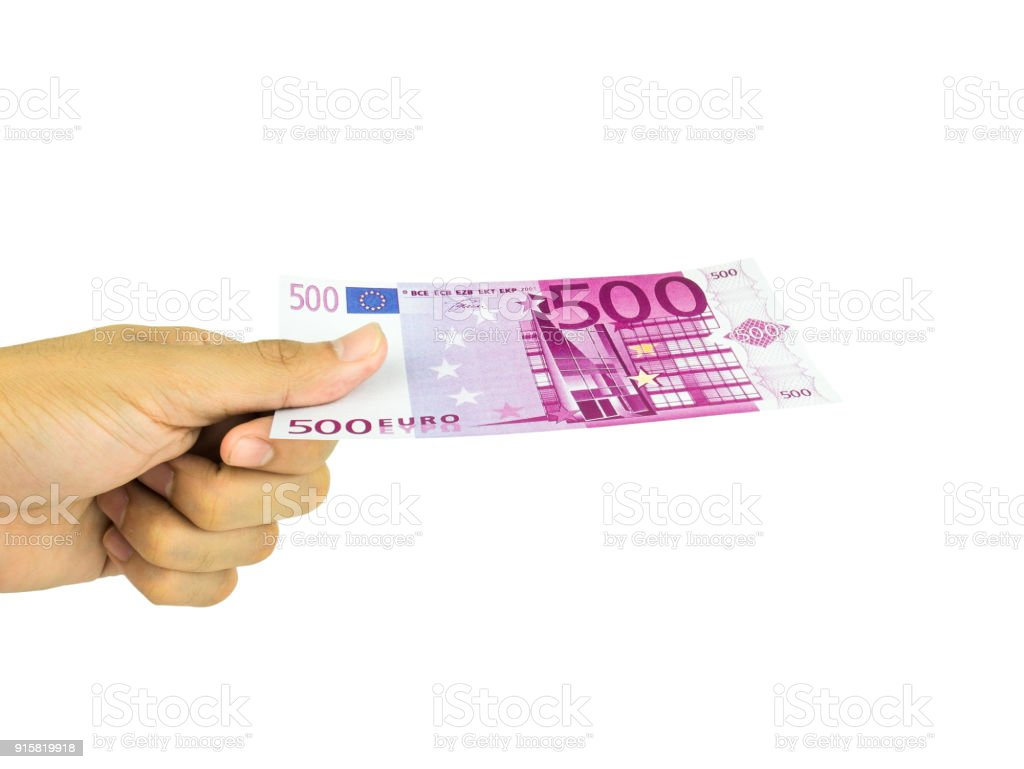Man's Hand hold with Five hundred 500 Euro bills banknotes isolated on white  background, Clipping path stock photo