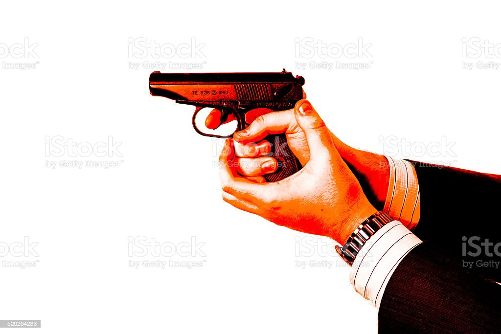 man's hand holding a pistol Makarov blood stock photo