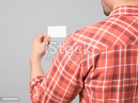Mans Hand Holding Blank Business Card Stock Photo & More Pictures of Adult