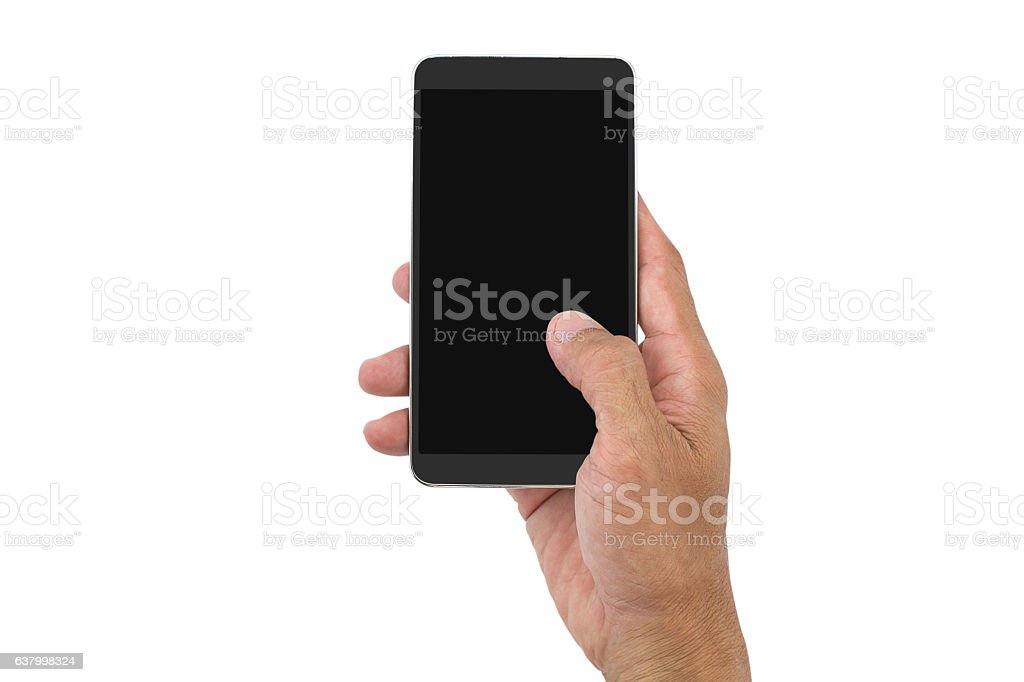 Man's hand holding mobile phone on white background stock photo