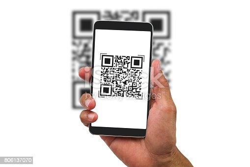513396643 istock photo Man's hand holding smartphone scanning QR code on white background, business concept 806137070