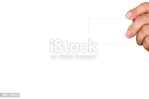 844190384 istock photo Man's hand holds a card 862780628