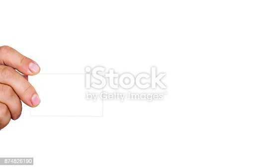 844190384 istock photo Man's hand holds a card 874826190