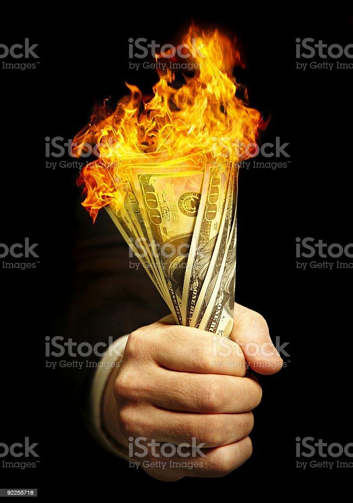 man's hand holds dollars stock photo