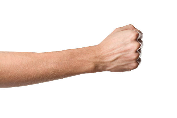 Man's hand isolated on white background stock photo