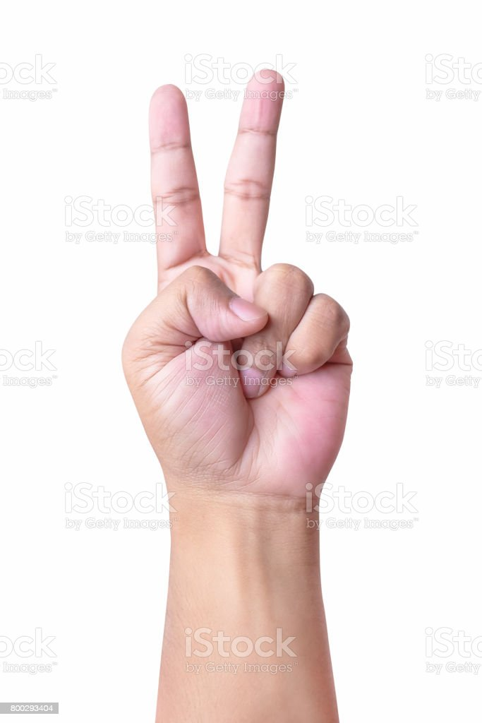 Man's hand making victory sign, isolated on a white background stock photo