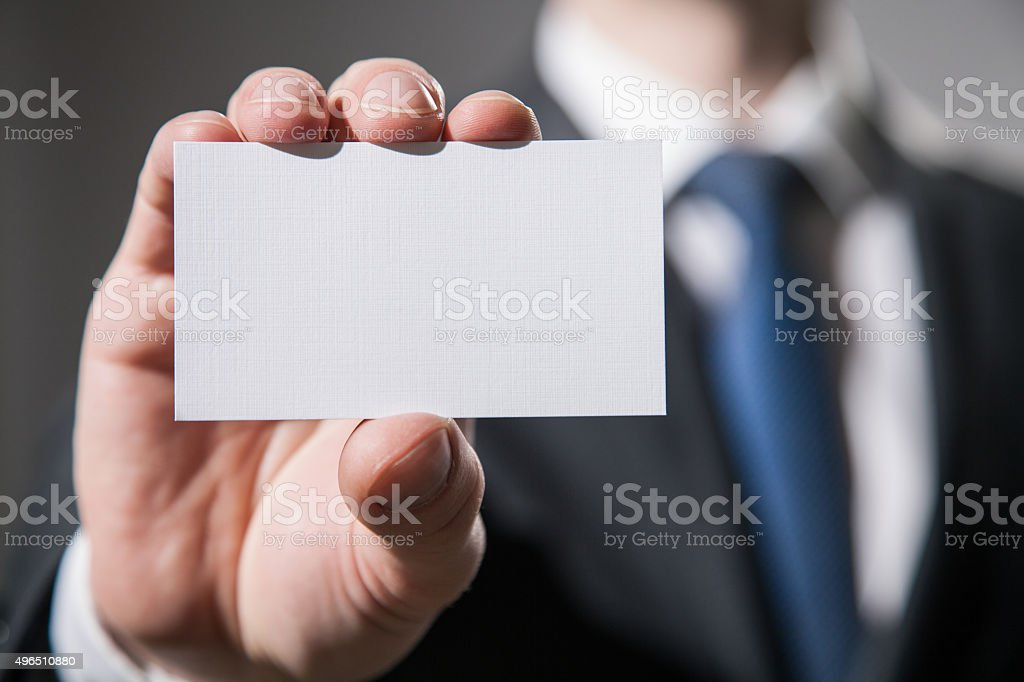 Man's hand showing visiting stock photo