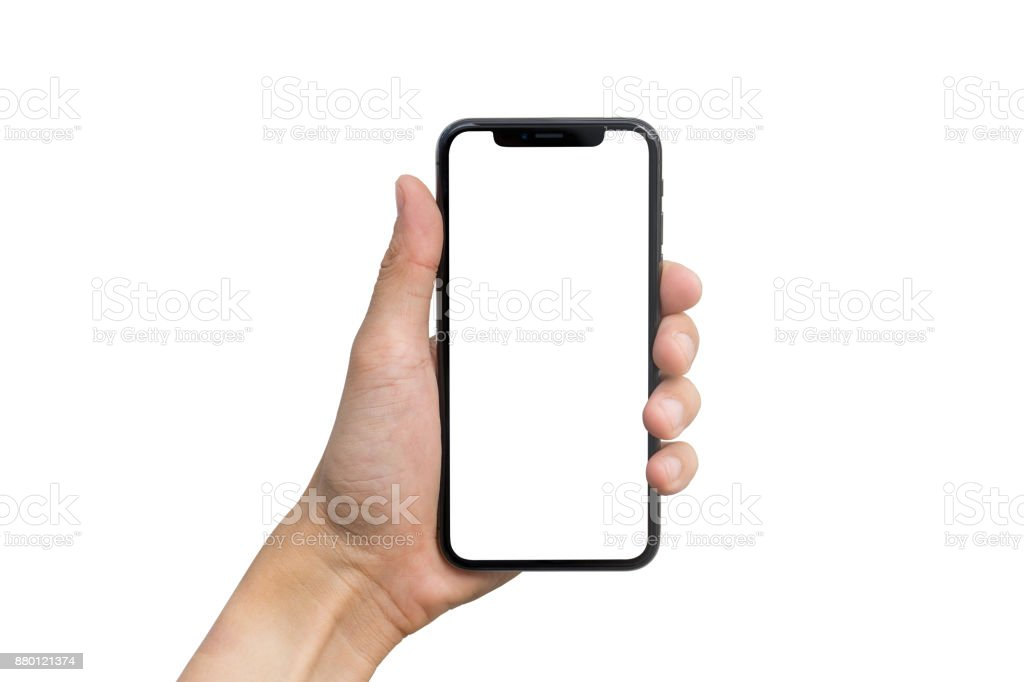 Man's hand shows mobile smartphone with white screen in vertical position isolated on white background stock photo