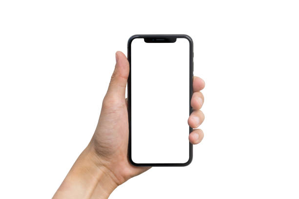 man's hand shows mobile smartphone with white screen in vertical position isolated on white background - hand stock photos and pictures