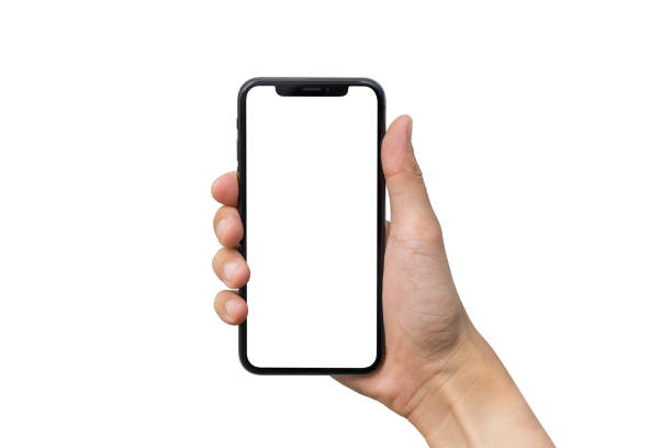 Man's hand shows mobile smartphone with white screen in vertical position isolated on white background