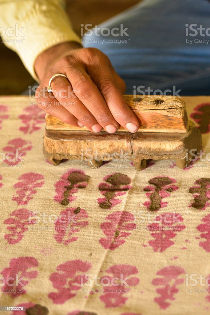 Man's Hand Traditional Wood Block Printing, India stock photo