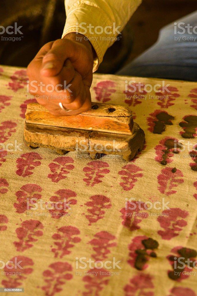 Man's Hand Traditional Wood Block Printing, India stock photo