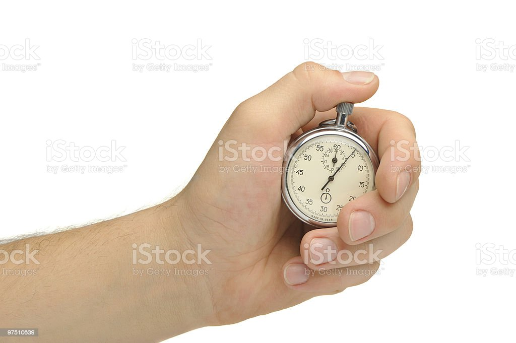 Man's hand with a stopwatch royalty-free stock photo