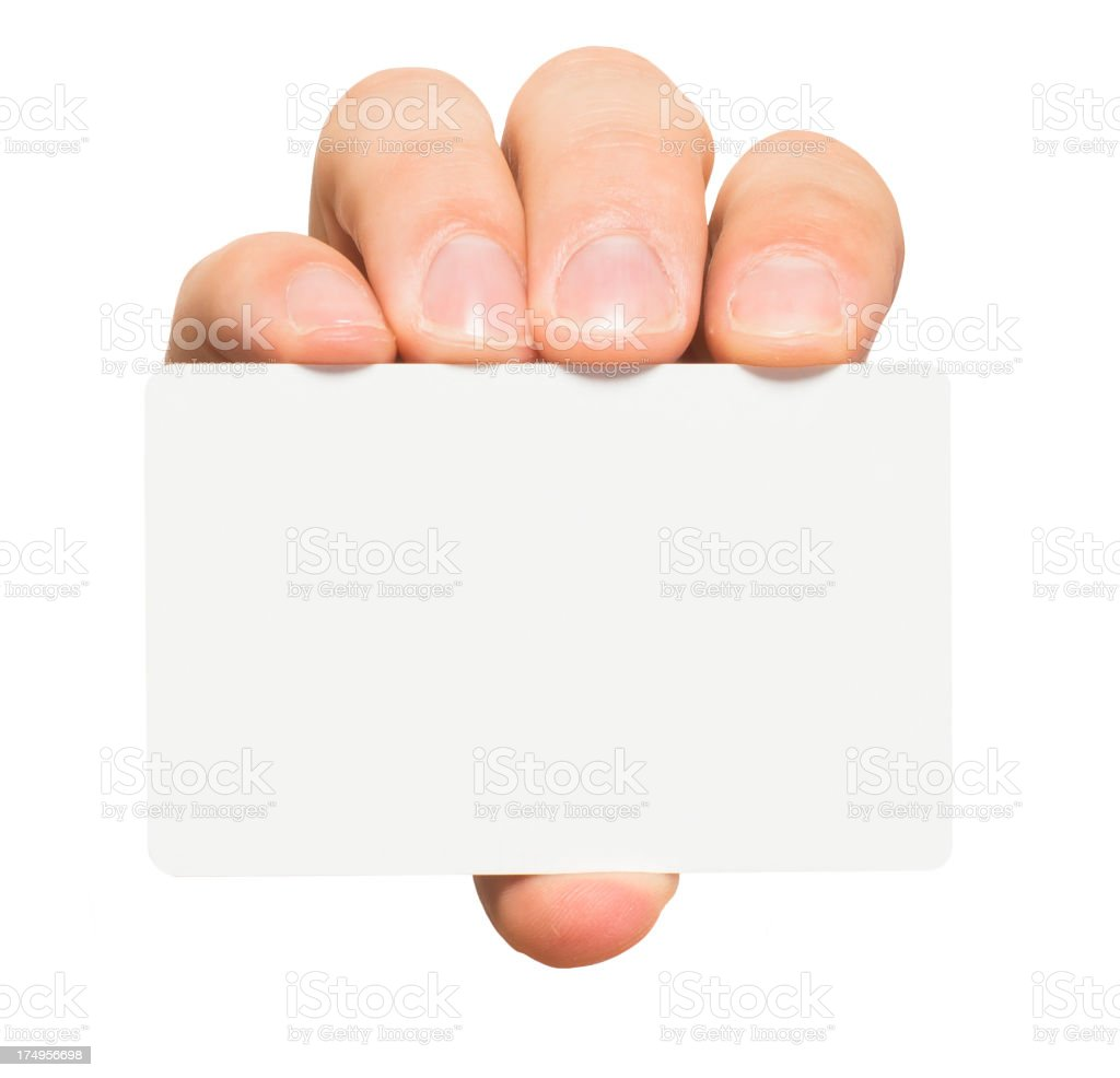 Man's Hand with Blank Credit Card Isolated on White Background royalty-free stock photo