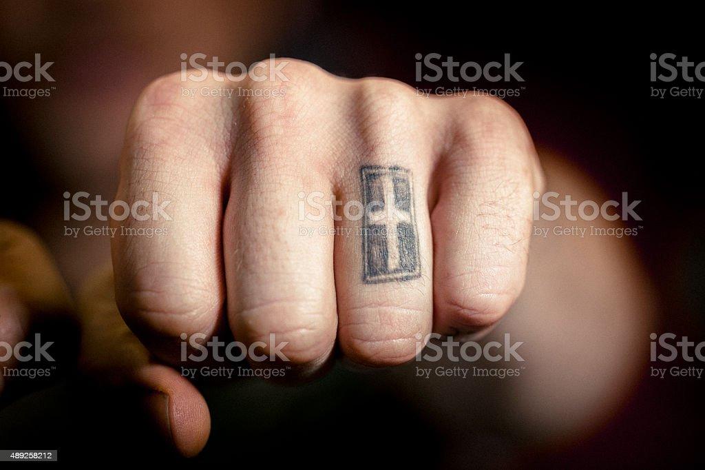 Człowiek Jest Ręka Z Krzyża Tatuaż Stockowe Zdjęcia I Więcej