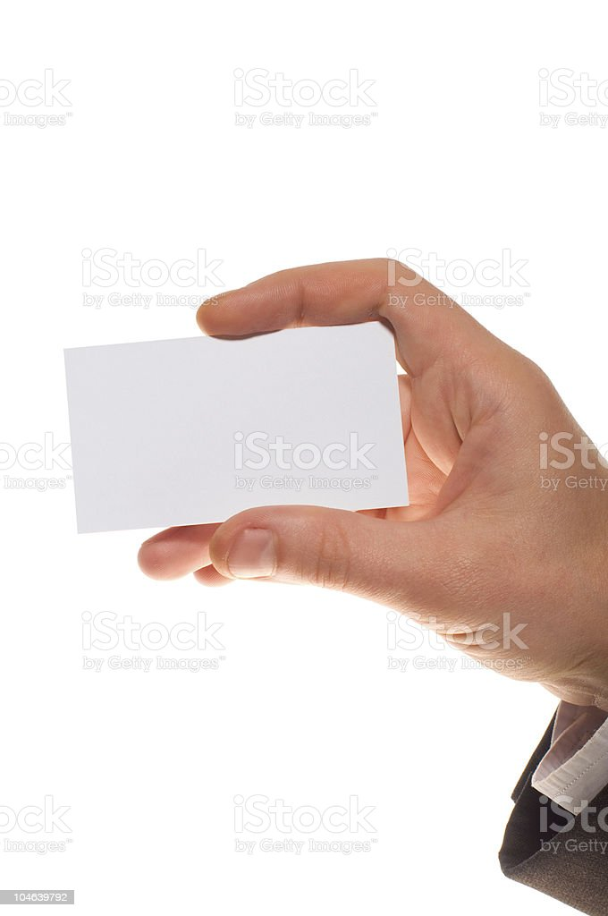 man's hand with visit card royalty-free stock photo