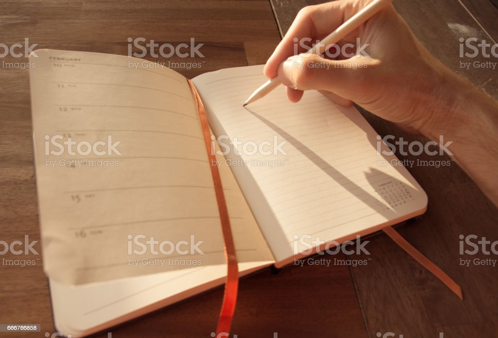 Mans hand writing in an agenda in the sun foto stock royalty-free