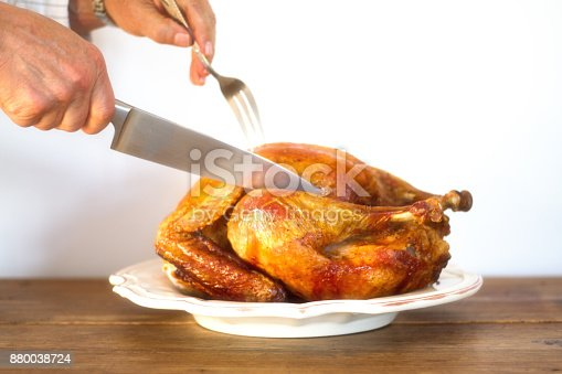 Man's Hands Carving Turkey on Platter on Antique Wood Table, White Background