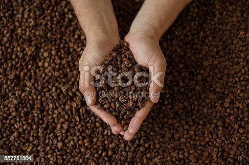 istock man's hands holding coffee beans 857781804