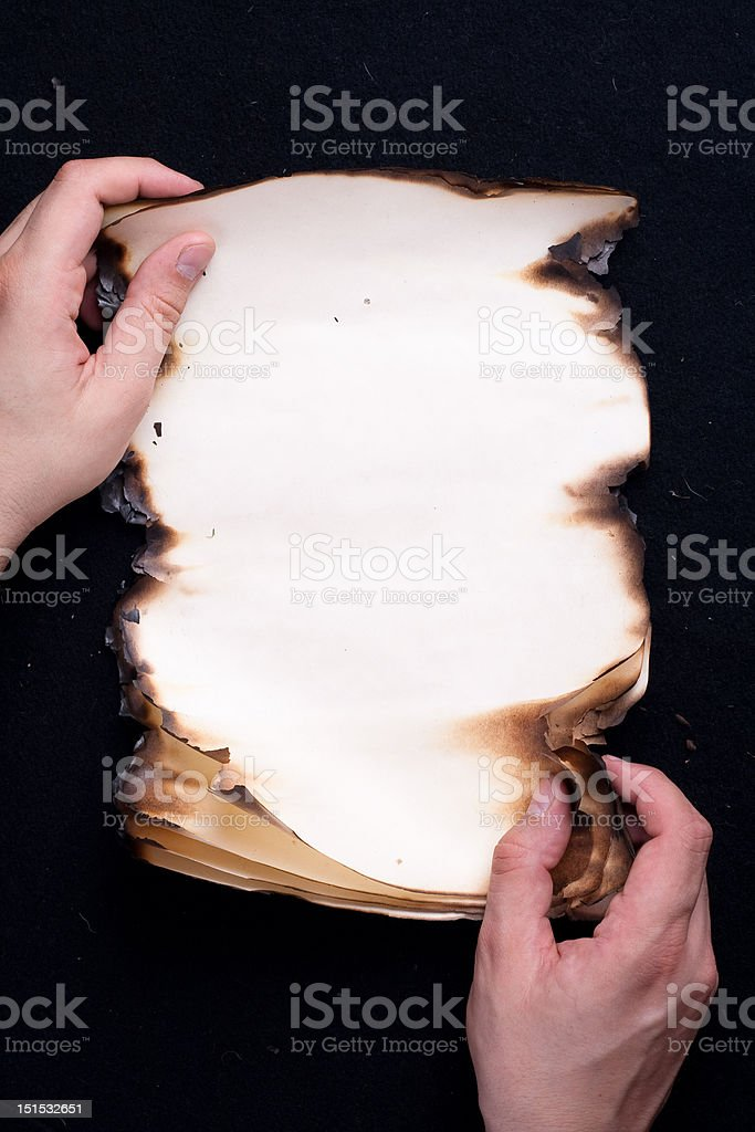 Mans hands holding old paper royalty-free stock photo