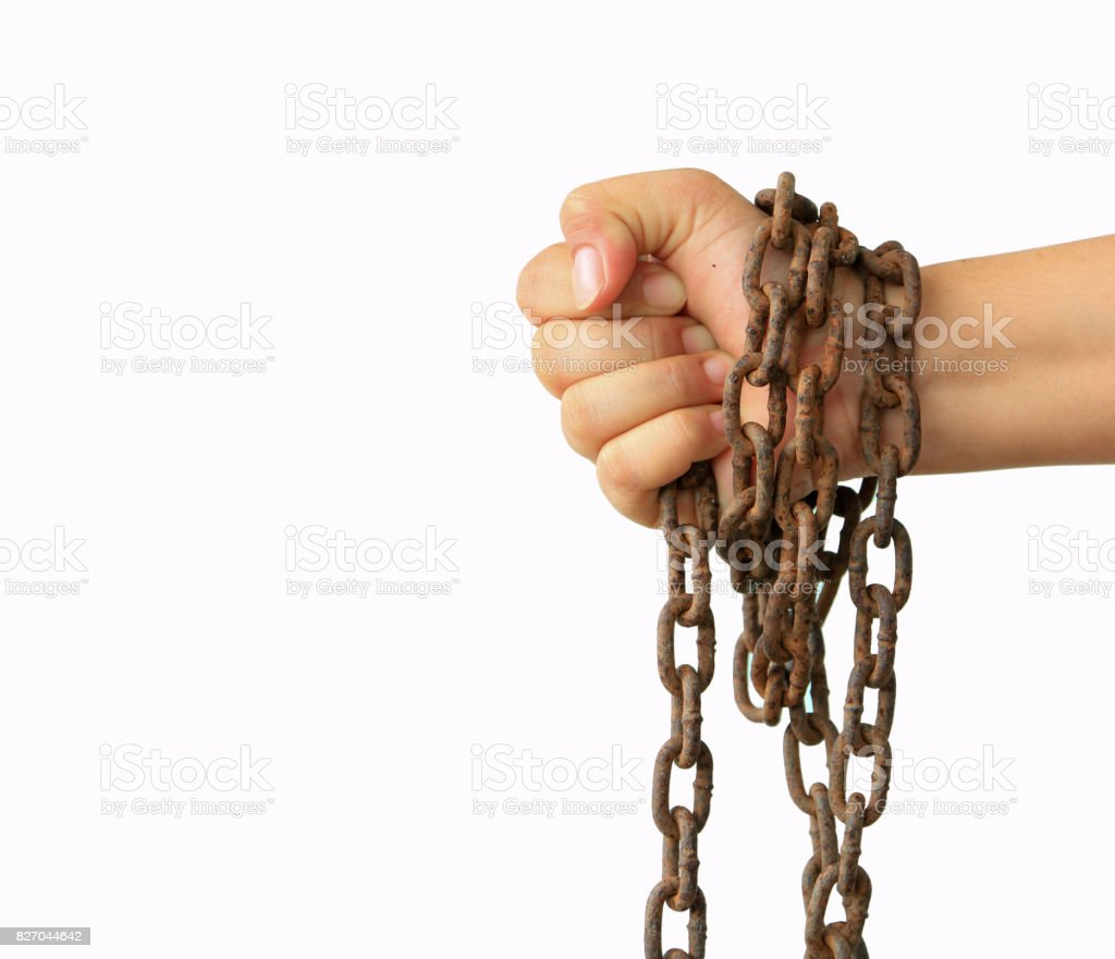 Man's hands tied stock photo