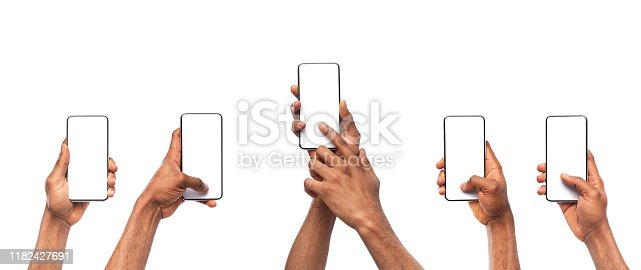 Set of man's hands using smartphone with blank screen, isolated on white background, panorama