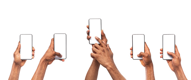 istock Man's hands using smartphone with blank screen on white background 1182427691