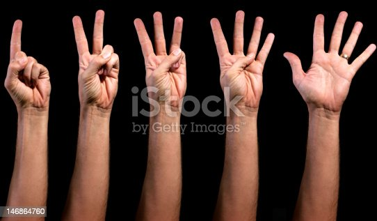 466657402 istock photo Man's left hand counting from 1 to 5 146864760