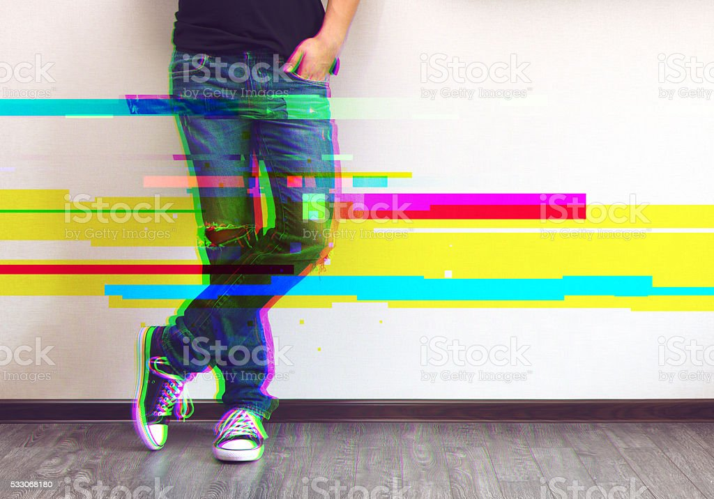 Man's legs glitched style photo stock photo
