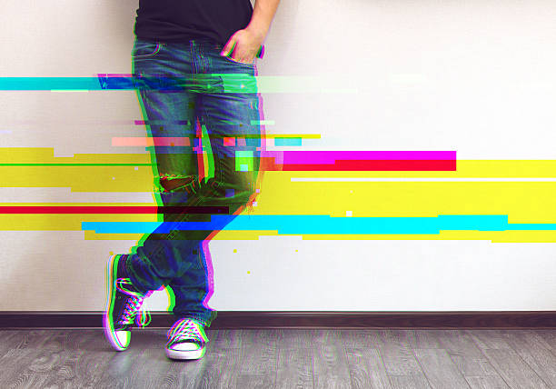 man's legs glitched style photo - pixellated stock photos and pictures