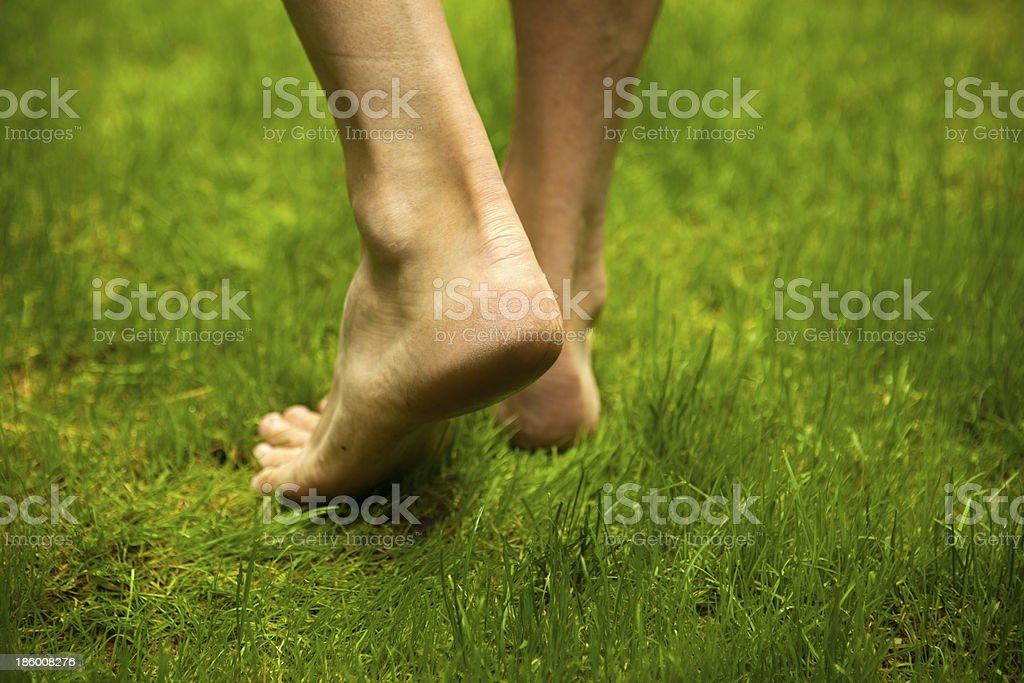 Man's legs on green grass stock photo