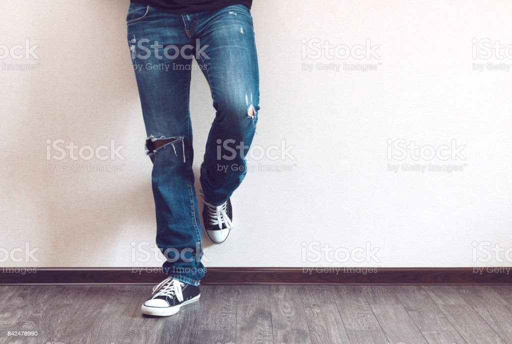 Man's legs stock photo