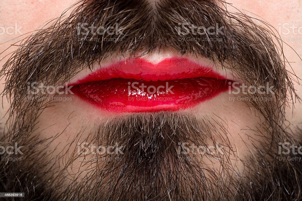 Man's Mouth with Red Lipstick stock photo