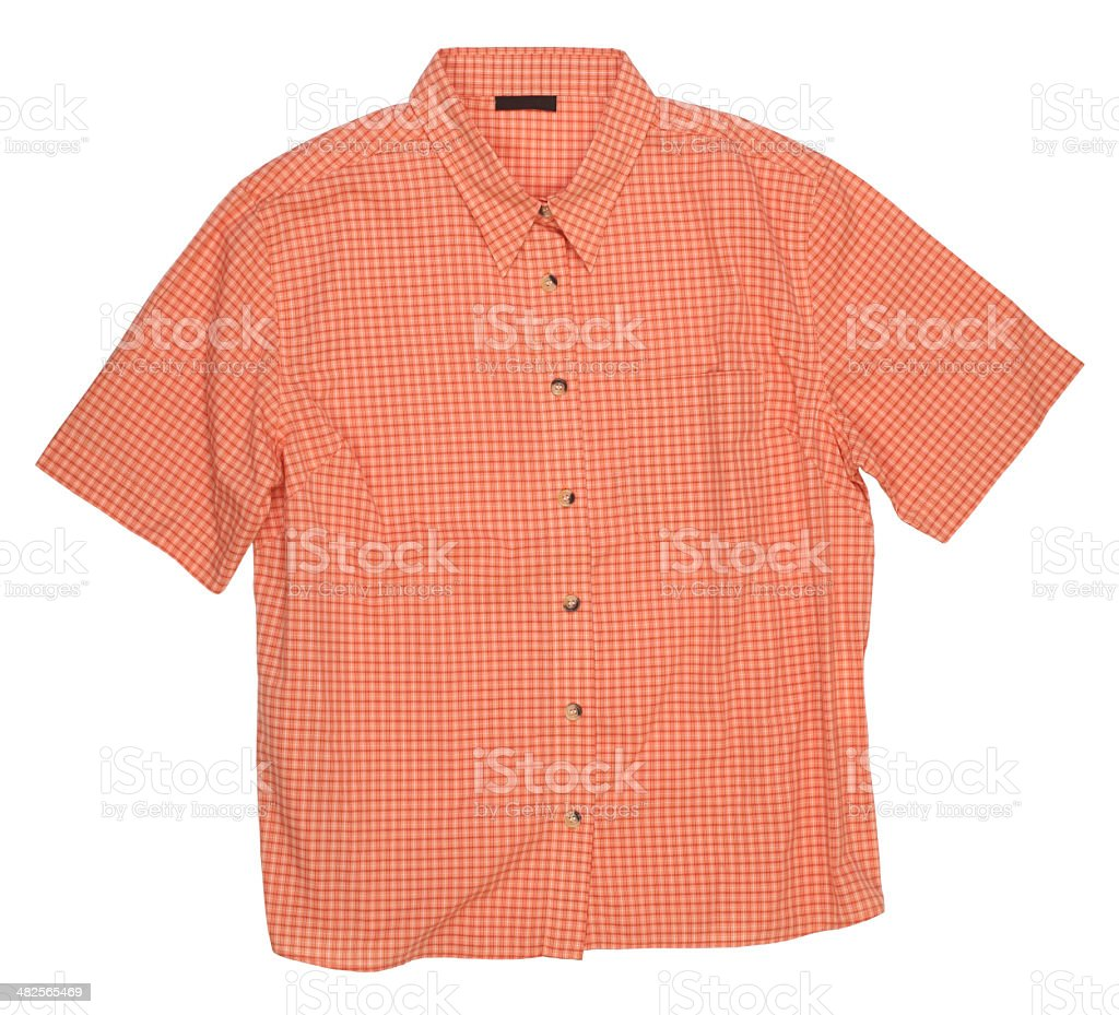 Man's orange cotton plaid shirt stock photo