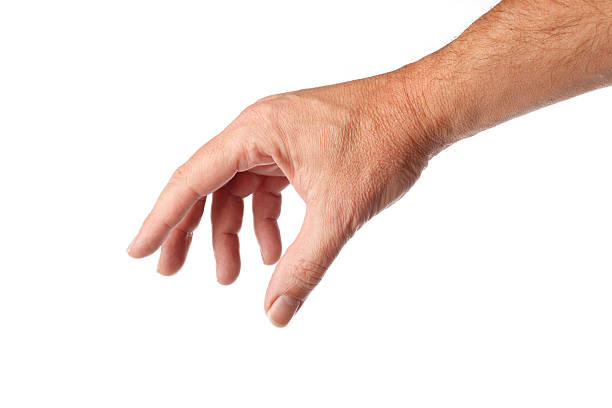 Man's right hand reaching out to grab something on white stock photo