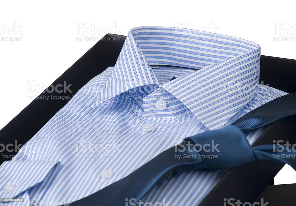 man's shirt and tie in elegant gift box, isolated royalty-free stock photo