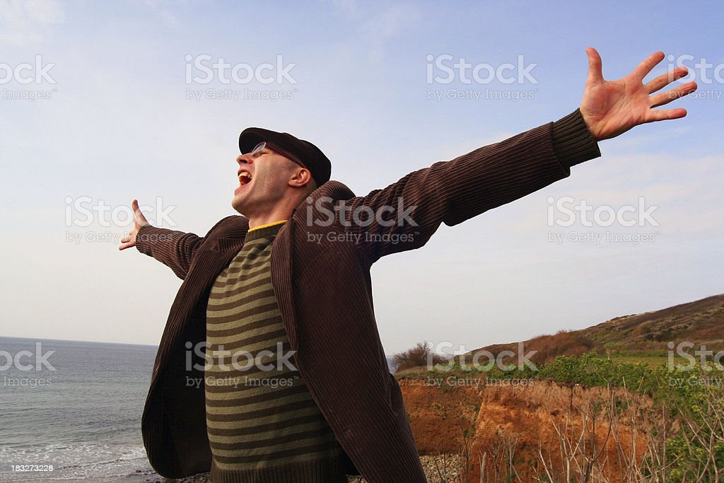 Man's shouting on the beach royalty-free stock photo