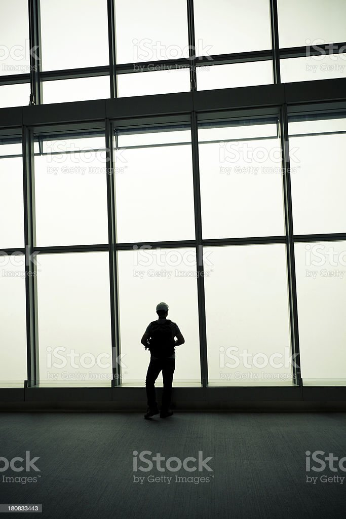 man's silhouette at the window royalty-free stock photo