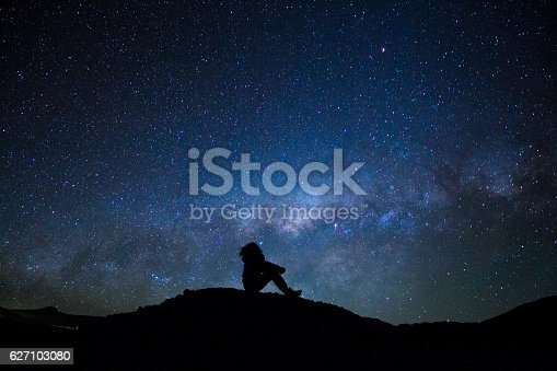Uyuni, Bolivia - October 30, 2016: Man's silhouette, sitted on a little hill, pointing to the sky, with the bright milky way as background.