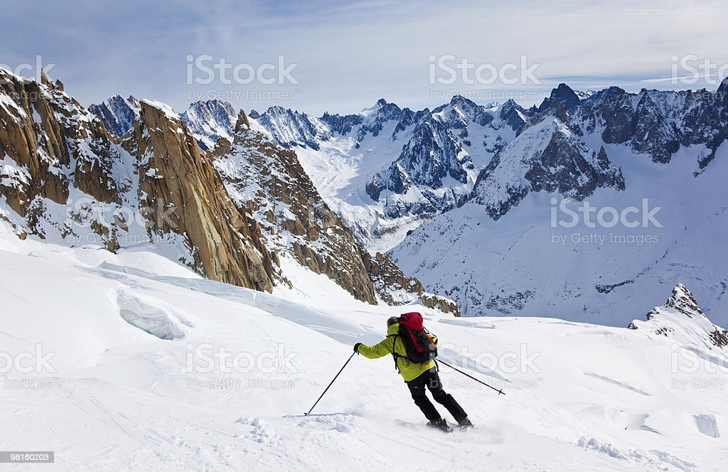 Man's skiing stock photo