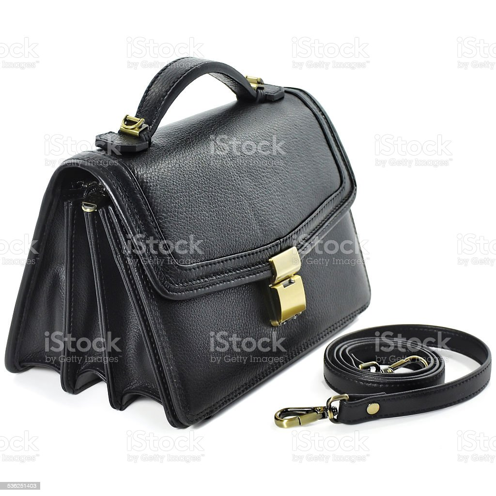 b40865cb Man's small black leather bag on white background. royalty-free stock photo