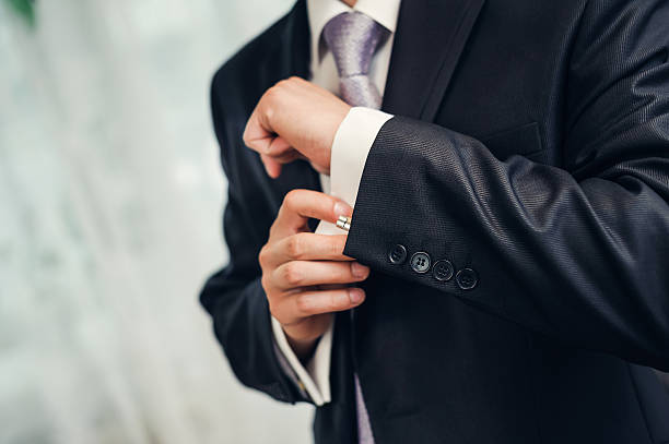 man's style. dressing suit, shirt and necktie - menswear stock photos and pictures