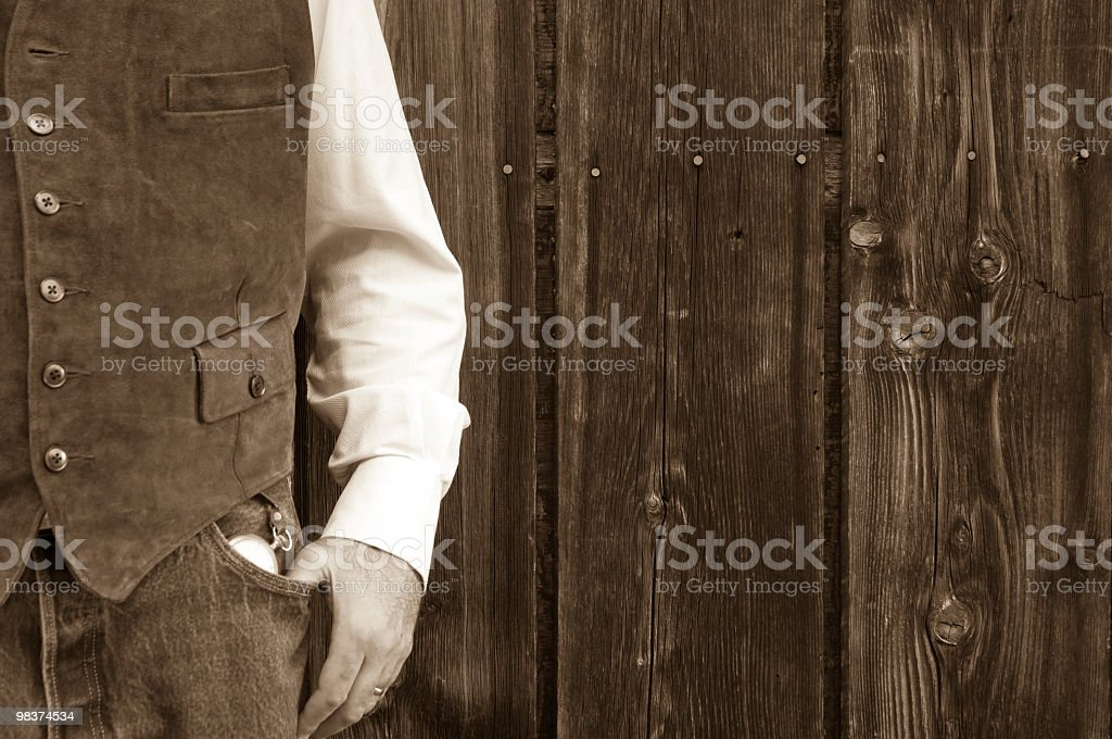 Mans torso and pocket watch royalty-free stock photo