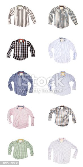istock Man's Wardrobe - 10 Shirts on White Background 182709868