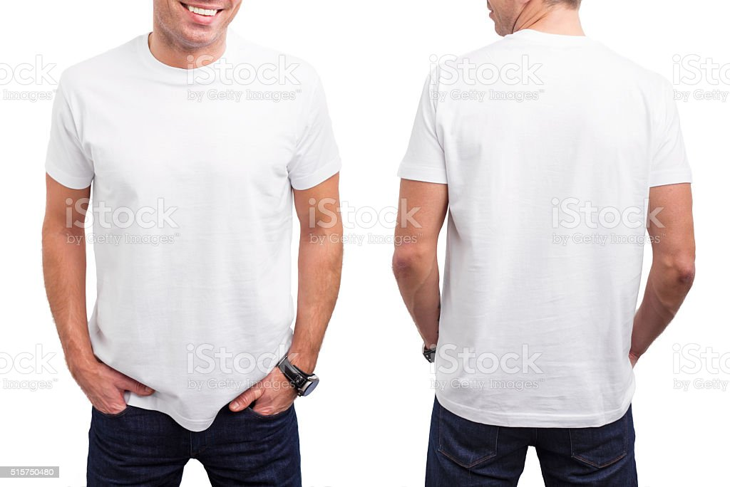 Man's white T-shirt stock photo