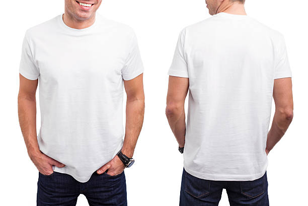man's white t-shirt - rear view stock photos and pictures